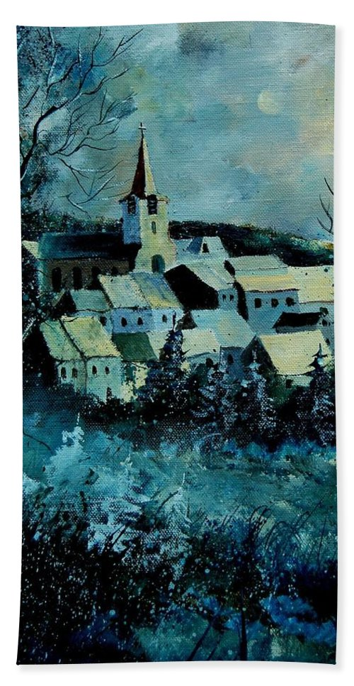 River Hand Towel featuring the painting Village In Winter by Pol Ledent