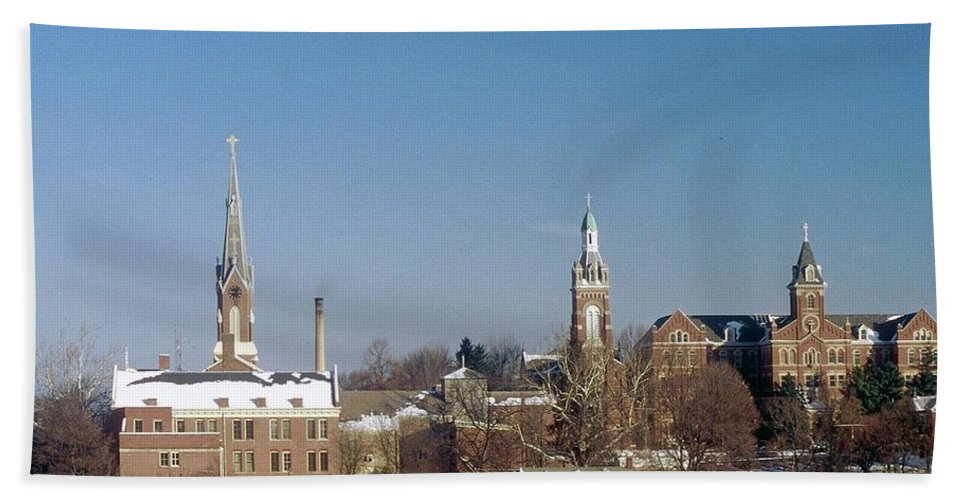 Oldenburg Indiana Bath Sheet featuring the photograph Village Of Spires by Gary Wonning