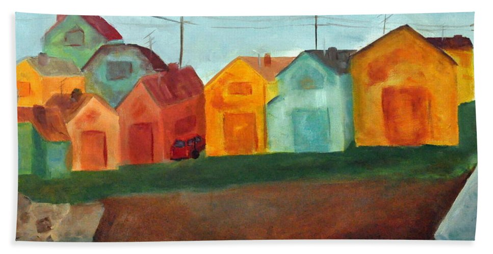 Houses Hand Towel featuring the painting Village On The Coast by Asher Topel