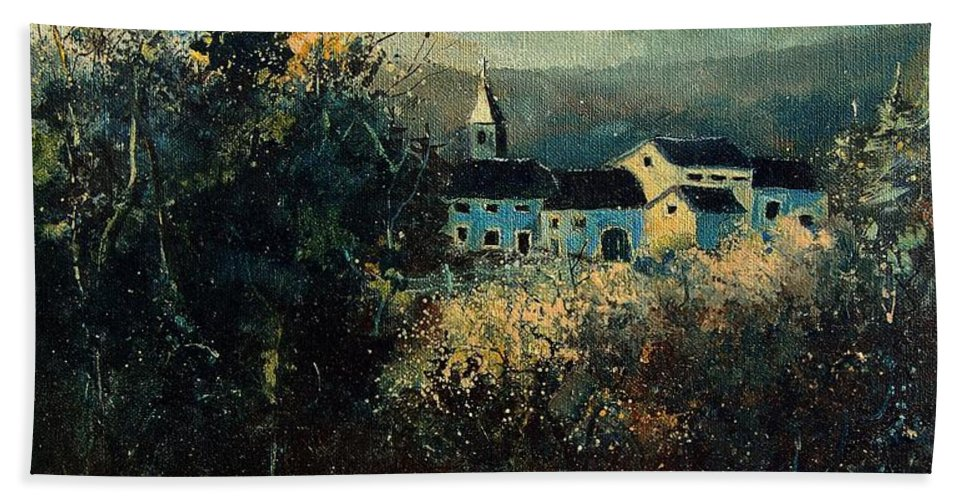 Landscape Hand Towel featuring the painting Village by Pol Ledent