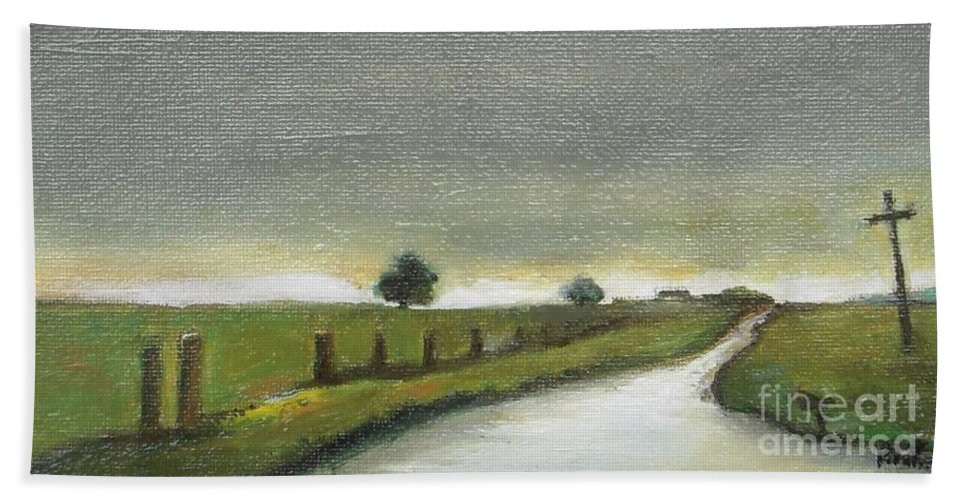 Landscape Hand Towel featuring the painting Village Road In The Twilight by Vesna Antic