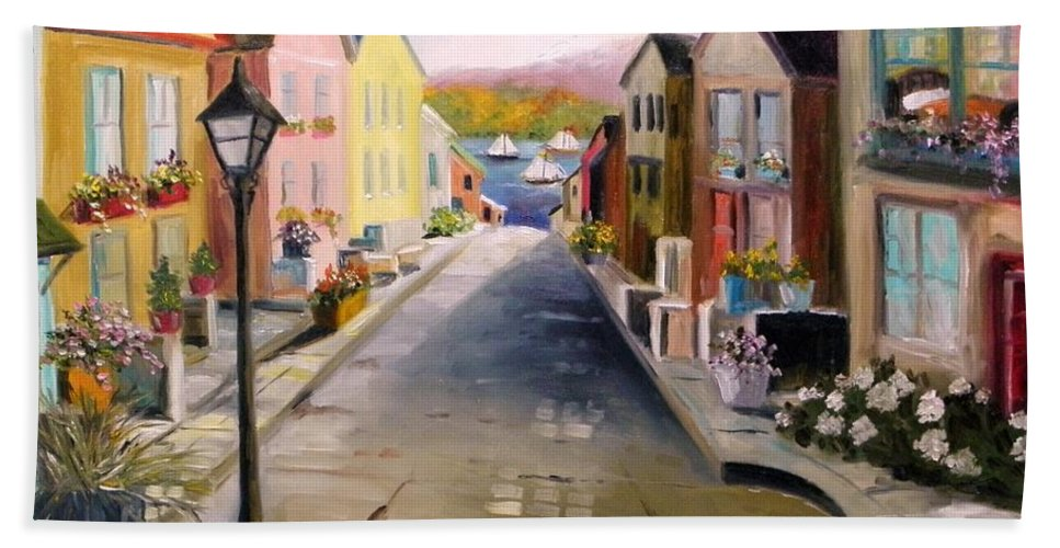 Village Hand Towel featuring the painting Village Street by John Williams