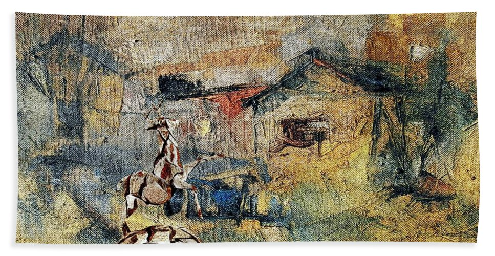 Impressionism Bath Sheet featuring the mixed media Village Zone 1 by Pemaro