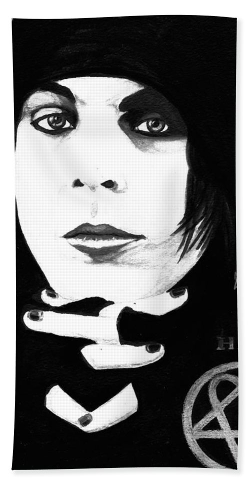 Ville Valo Hand Towel featuring the painting Ville Valo Portrait by Alban Dizdari