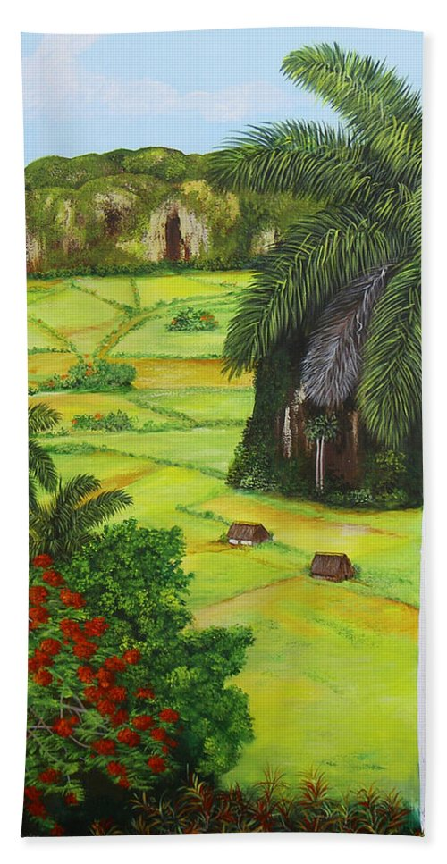 Cuban Landscape Hand Towel featuring the painting Vinales Valley by Dominica Alcantara