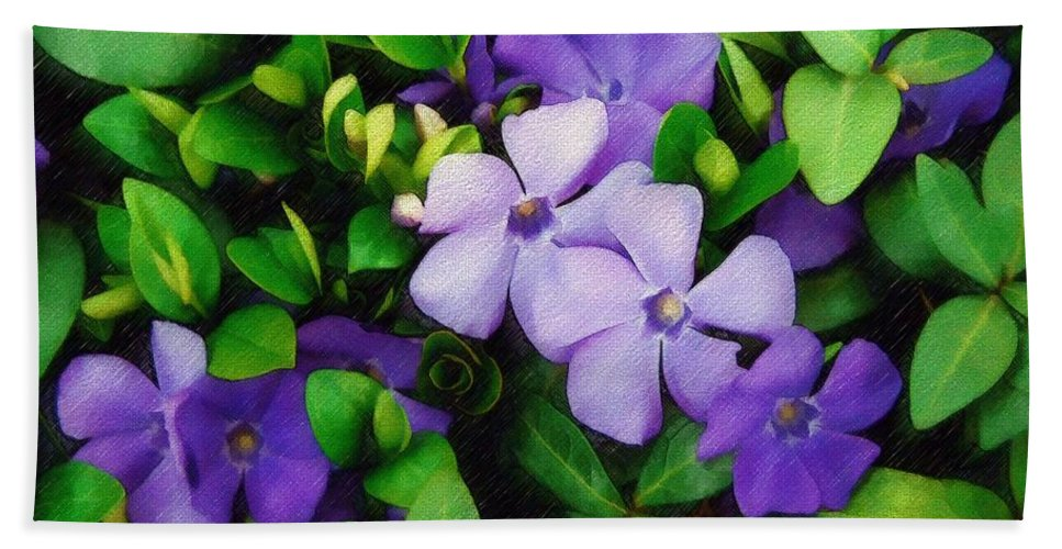 Vinca Bath Sheet featuring the photograph Vinca by Sandy MacGowan