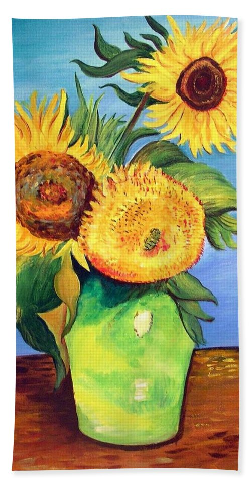 Van Gogh Bath Sheet featuring the painting Vincent's Sunflowers by Patricia Piffath