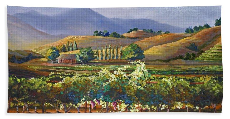 Vineyard Bath Sheet featuring the painting Vineyard In California by Heather Coen