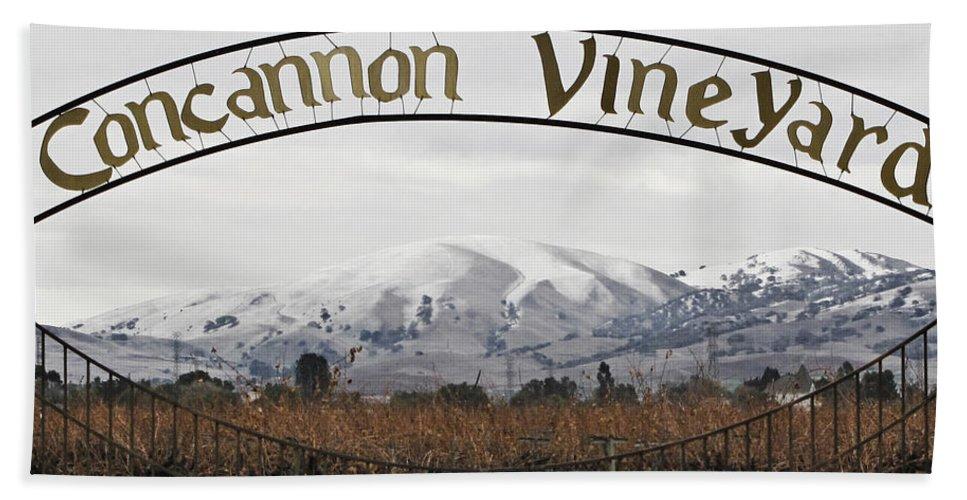Landscape Hand Towel featuring the photograph Vineyard Under Snow by Karen W Meyer
