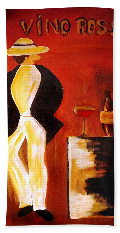 Italian Bath Towel featuring the mixed media Vinorosso by Helmut Rottler