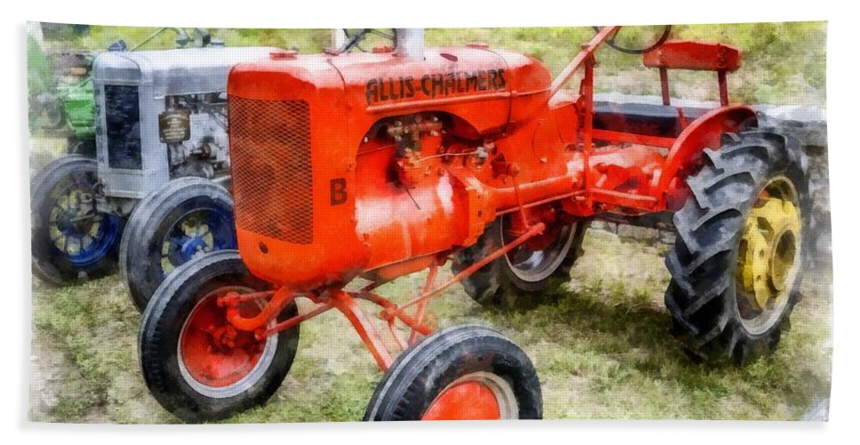 Tractor Hand Towel featuring the photograph Vintage Allis-chalmers Tractor Watercolor by Edward Fielding
