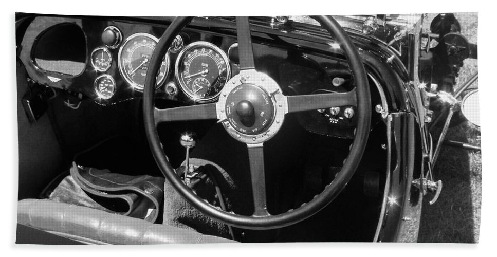 Aston Martin Bath Sheet featuring the photograph Vintage Aston Martin Dashboard by Neil Zimmerman