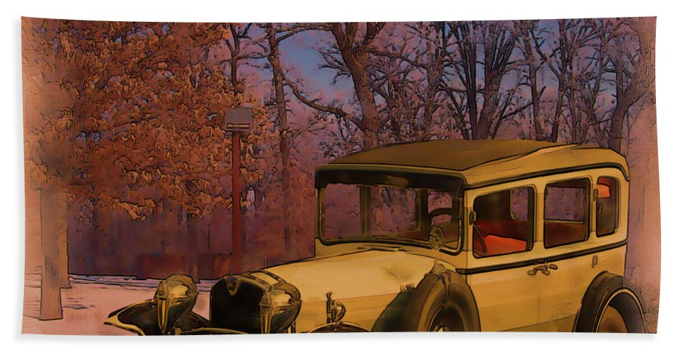 Vintage Hand Towel featuring the digital art Vintage Auto In Winter by Tristan Armstrong