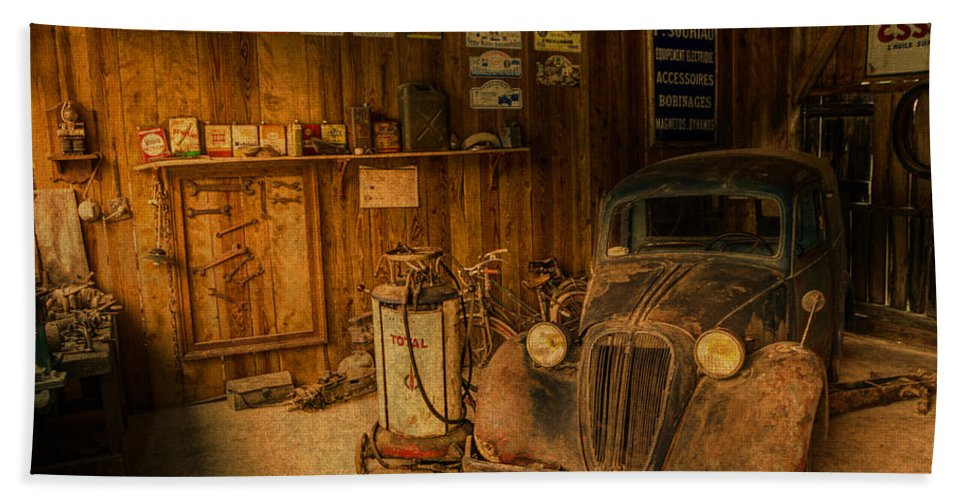 Vintage Hand Towel featuring the mixed media Vintage Auto Repair Garage With Truck And Signs by Design Turnpike