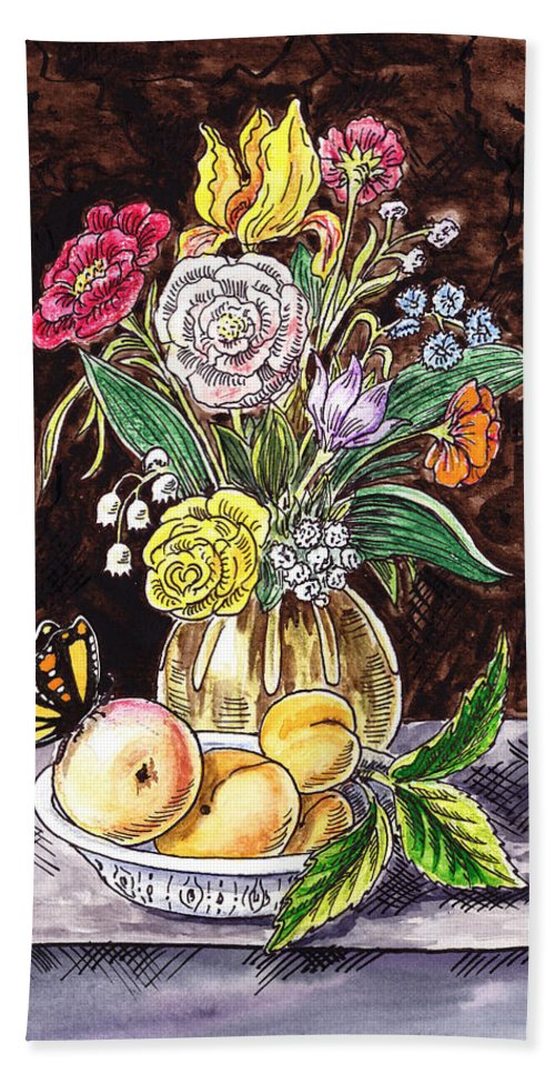 Vintage Bouquet Hand Towel featuring the painting Vintage Bouquet With Fruits And Butterfly by Irina Sztukowski