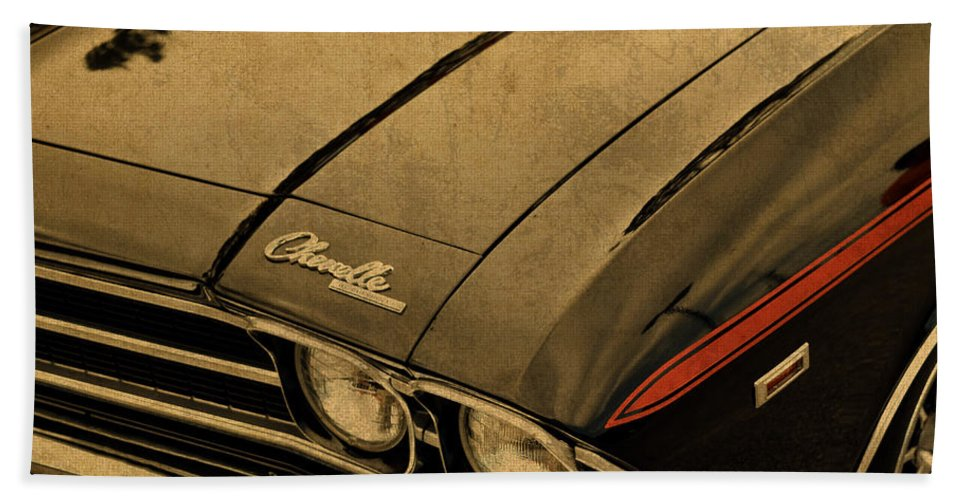 Vintage Hand Towel featuring the mixed media Vintage Chevrolet Chevelle Hood by Design Turnpike