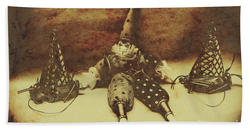 Birthday Bath Towel featuring the photograph Vintage Clown Doll. Old Parties by Jorgo Photography - Wall Art Gallery