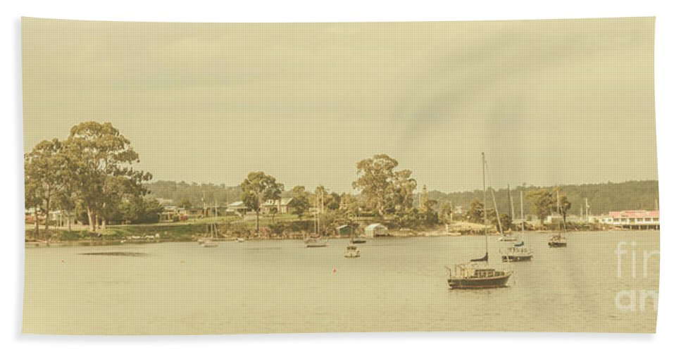 Nautical Bath Towel featuring the photograph Vintage Dover Harbour Tasmania by Jorgo Photography - Wall Art Gallery