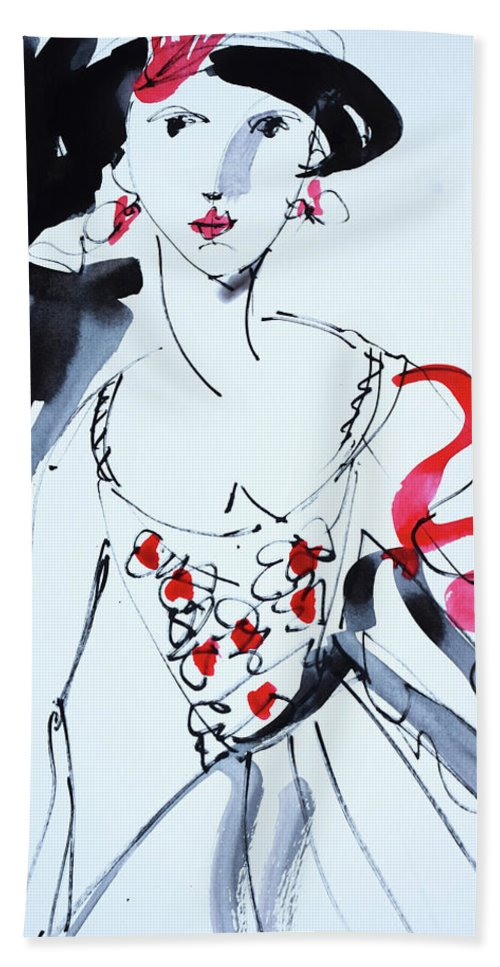 Drawing Hand Towel featuring the painting Vintage Fashion by Amara Dacer