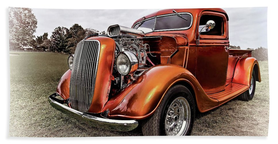 Automobile Bath Sheet featuring the photograph Vintage Ford Truck Rod by Marcia Colelli
