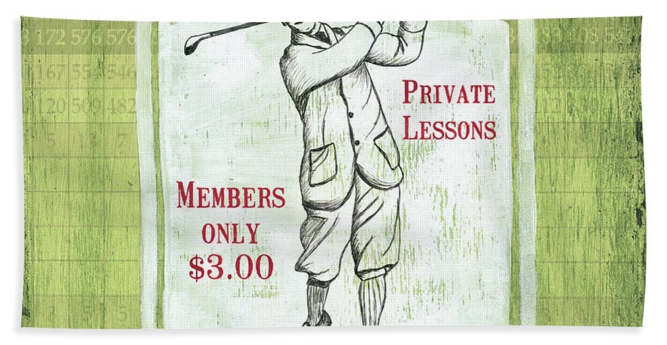 Golf Hand Towel featuring the painting Vintage Golf Green 1 by Debbie DeWitt