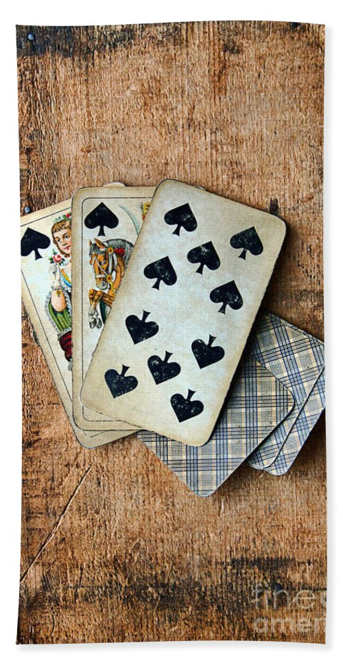 Vintage Hand Towel featuring the photograph Vintage Hand Of Cards by Jill Battaglia