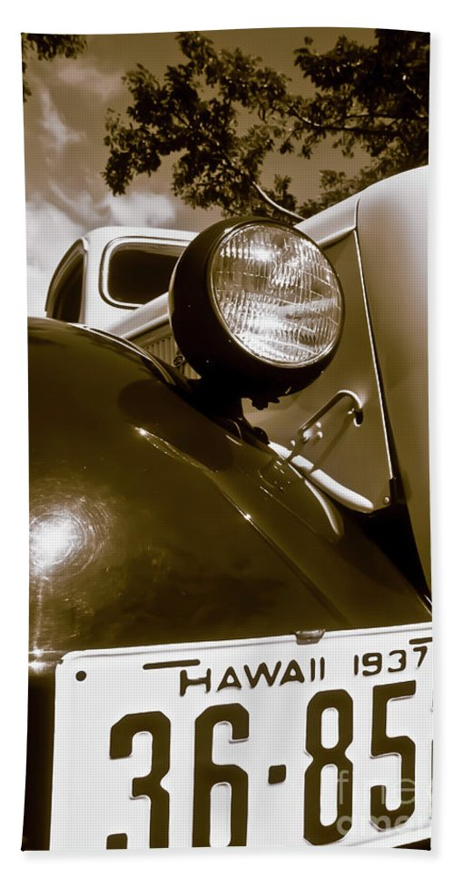 1937 Ford Hand Towel featuring the photograph 1937 Ford Pickup Truck Maui Hawaii by Jim Cazel