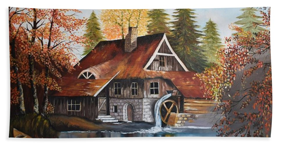 Landscape Hand Towel featuring the painting Vintage House by Fadia Raffoul