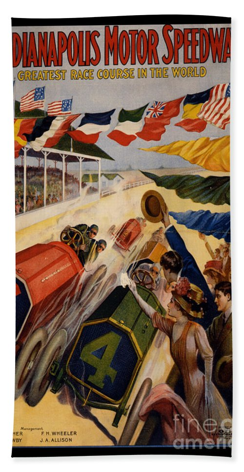 Indy Bath Towel featuring the painting Vintage Indianapolis Motor Speedway Poster by Edward Fielding