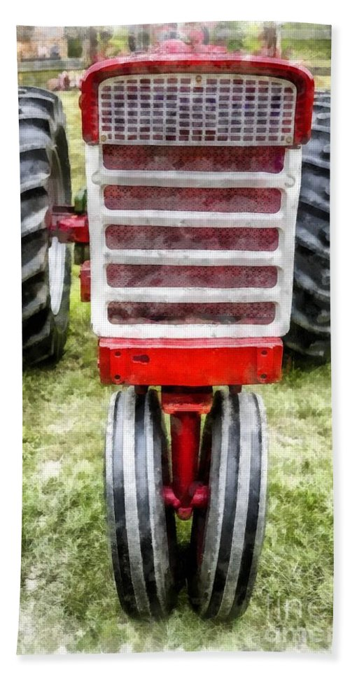 Tractor Hand Towel featuring the photograph Vintage International Harvester Tractor by Edward Fielding