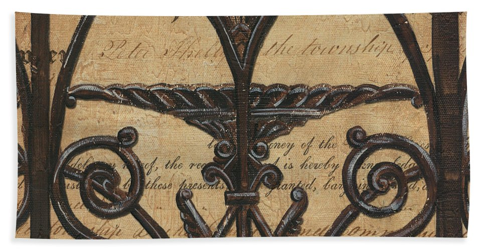 Iron Bath Sheet featuring the painting Vintage Iron Scroll Gate 1 by Debbie DeWitt