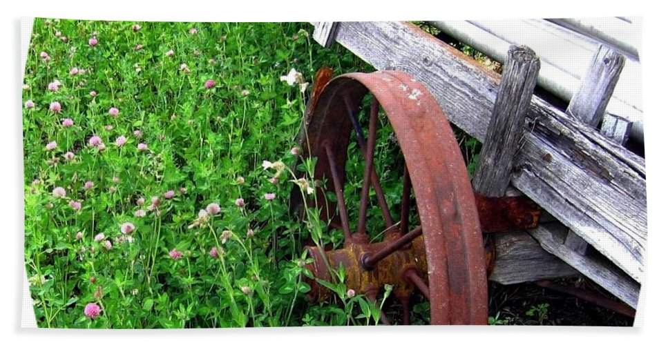 Irrigation Wagon Bath Sheet featuring the photograph Vintage Irrigation Wagon by Will Borden