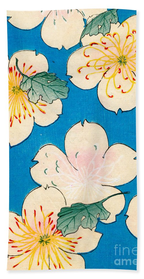 Flower Bath Towel featuring the painting Vintage Japanese illustration of dogwood blossoms by Japanese School