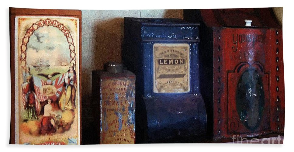 Americana Hand Towel featuring the painting Vintage Kitchen Magick by RC DeWinter