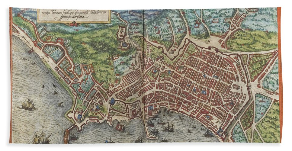Vintage Map Of Naples Italy - 1572 Bath Towel for Sale by ...