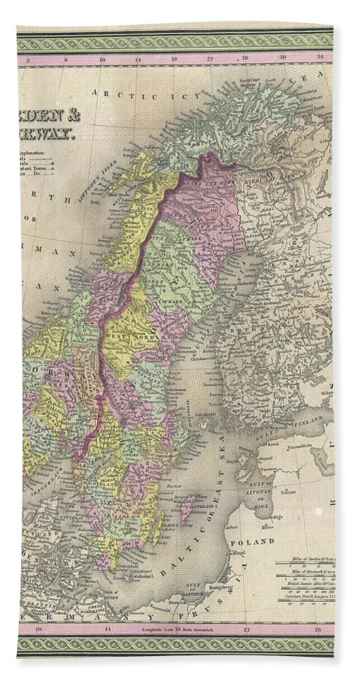 Scandinavia Hand Towel featuring the drawing Vintage Map Of Scandinavia - 1850 by CartographyAssociates
