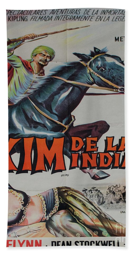 Kim De La India Starring Errol Flynn Hand Towel featuring the photograph Vintage Movie Poster 4 by Bob Christopher