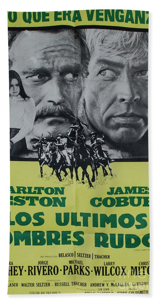 Los Ultimos Hombres Rudos Hand Towel featuring the photograph Vintage Movie Poster 6 by Bob Christopher