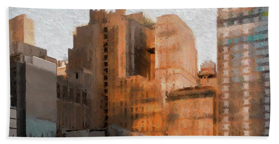 Manhattan Bath Sheet featuring the painting Vintage New York City Apartments by Thomas Logan