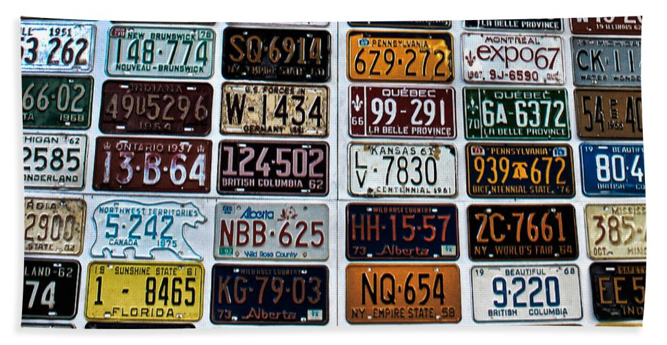 Number Plates Hand Towel featuring the photograph Vintage Number Plates by Martin Newman