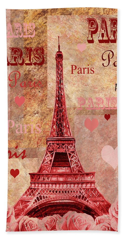 Pink Hand Towel featuring the painting Vintage Paris And Roses by Irina Sztukowski