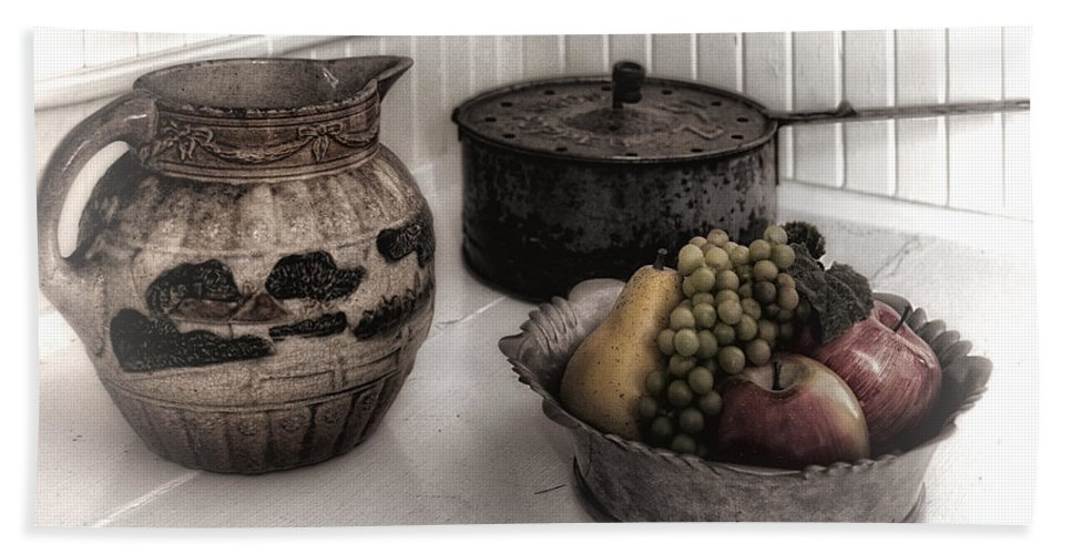 Kitchen Bath Sheet featuring the photograph Vintage Pitcher, Pan, And Fruit Bowl by Mitch Spence