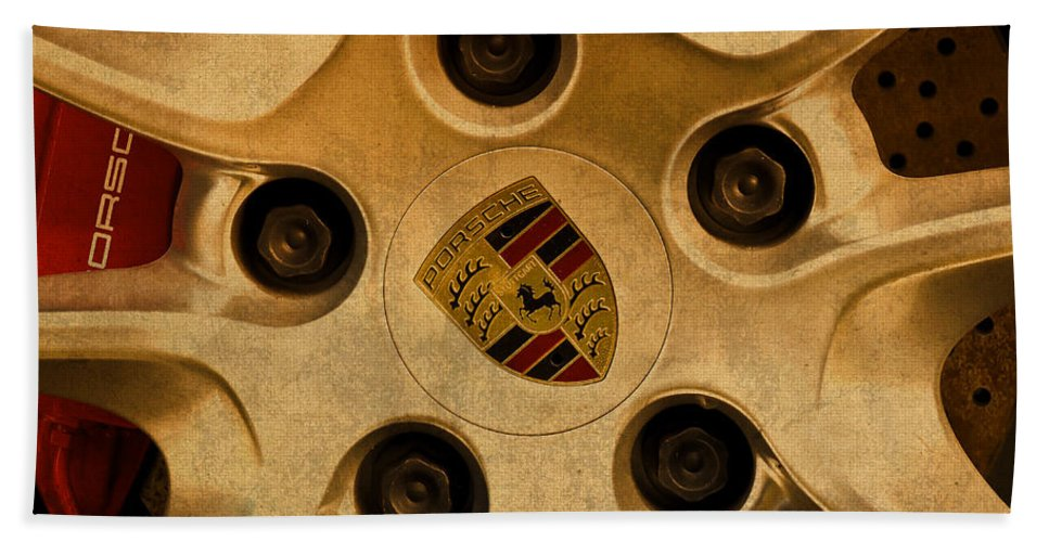 Vintage Hand Towel featuring the mixed media Vintage Porsche Wheel Logo by Design Turnpike