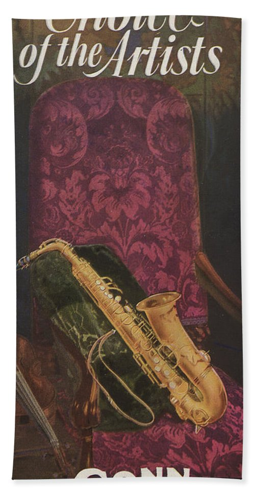 Music Bath Towel featuring the painting Vintage Poster by American School