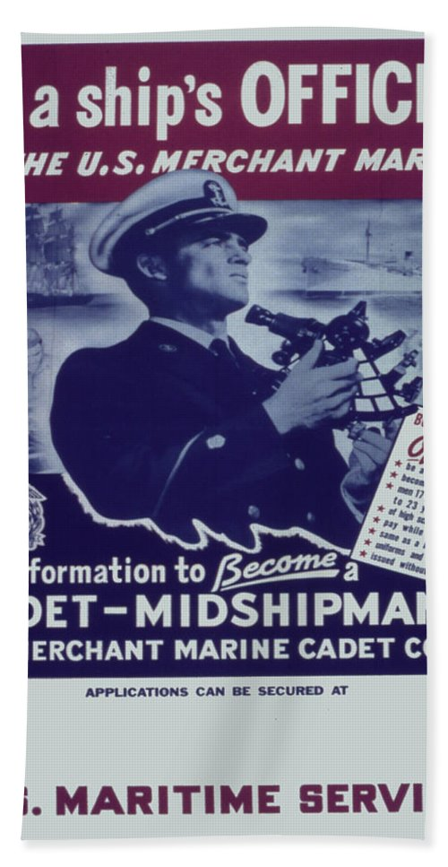 Vintage Poster Bath Sheet featuring the painting Vintage Poster - Be A Ship's Officer by Vintage Images