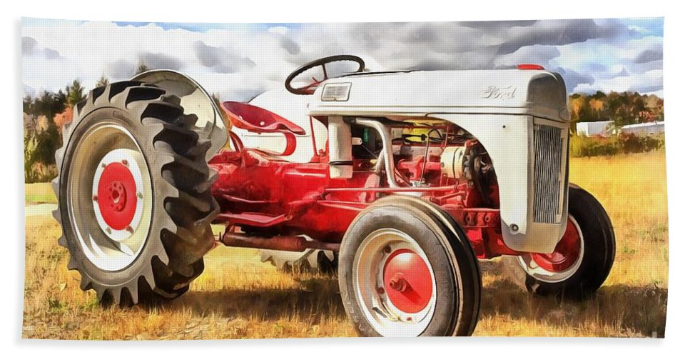 Ford Hand Towel featuring the painting Vintage Red And White Ford Farm Tractor Painting by Edward Fielding