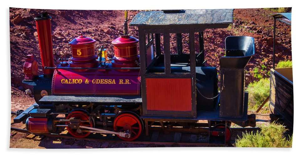 Calico Hand Towel featuring the photograph Vintage Red Calico Train by Garry Gay