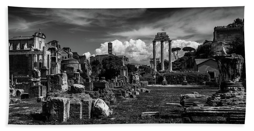 Forum Bath Sheet featuring the photograph Vintage Roman Forum View by Cara Koch