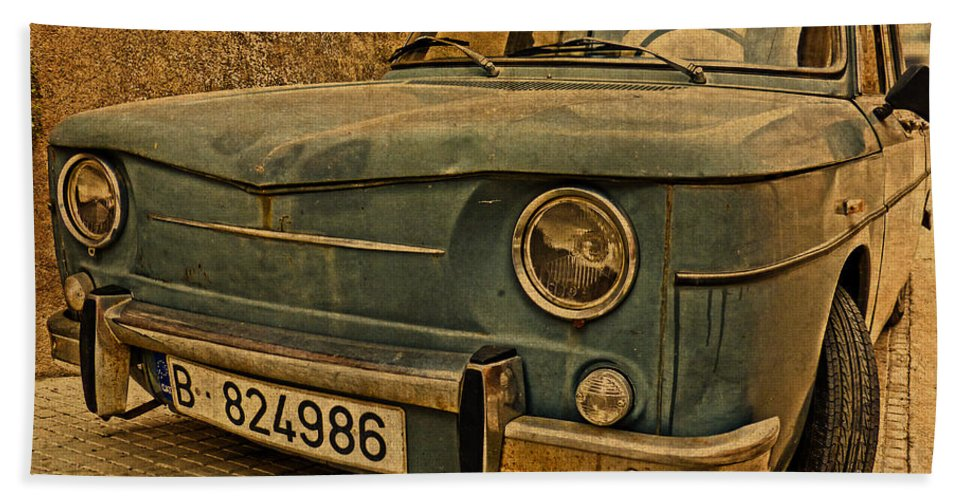 Vintage Hand Towel featuring the mixed media Vintage Rusty Renault Truck by Design Turnpike