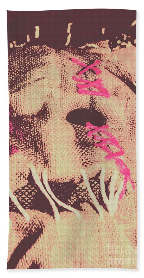 Monster Hand Towel featuring the photograph Vintage Scarecrow Mask by Jorgo Photography - Wall Art Gallery